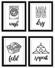 Modern 5th - Letreros para cuarto de lavandería (juego de 4 unidades, sin marco, de 20.3 x 25.4 cm), Wash Dry