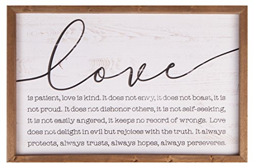 P. Graham Dunn Love is Patient Kind 24.5 x 16 Wood Farmhouse Frame Wall Plaque ()