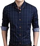 Aiyino Men's 100% Cotton Long Sleeve Plaid Slim Fit Button Down Dress Shirt US XL Navy