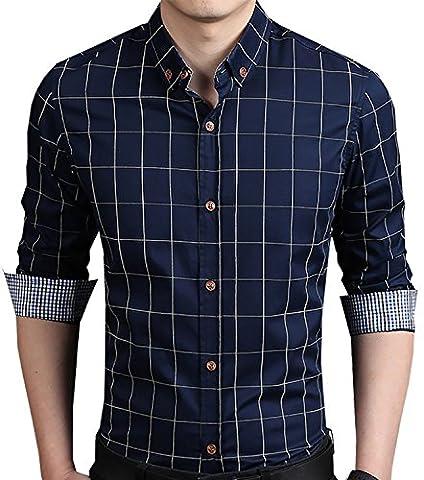 YTD Men's 100% Cotton Long Sleeve Plaid Slim Fit Button Down Dress Shirt US M Navy - Button Down Plaid Dress Shirt