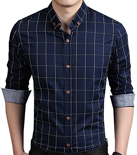 YTD Men's 100% Cotton Long Sleeve Plaid Slim Fit Button Down Dress Shirt US L Navy