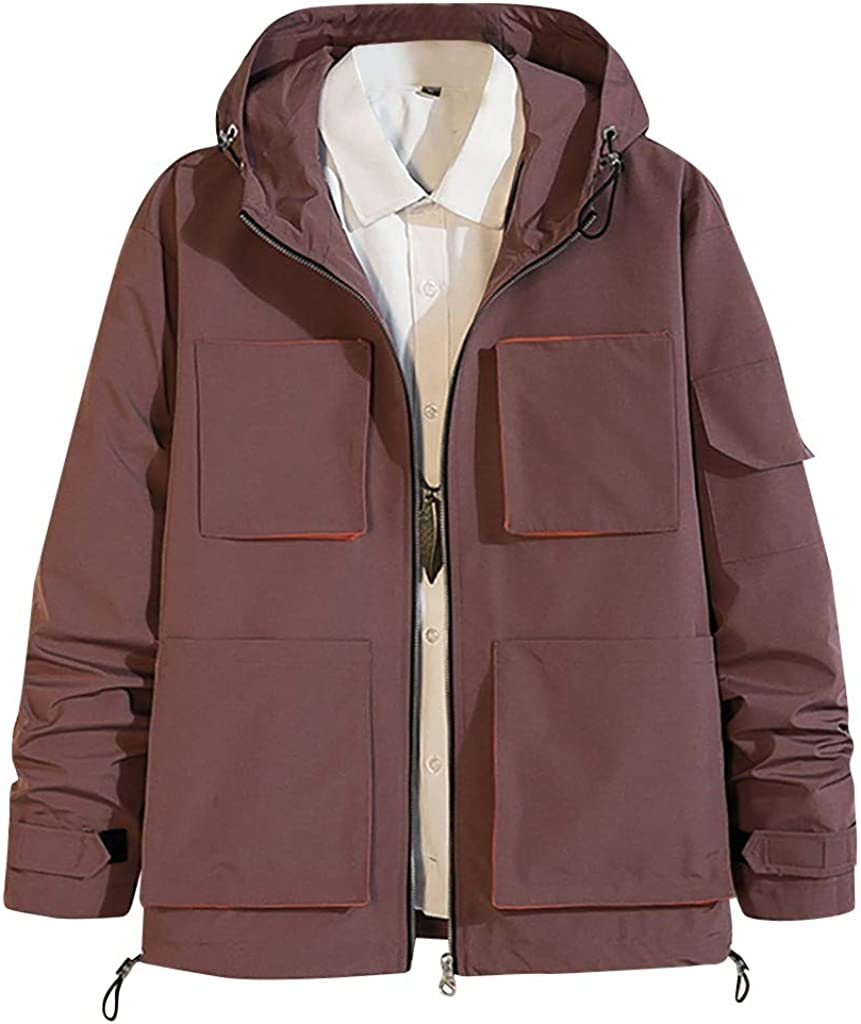 wuliLINL Men's Jacket Outwear - Casual Autumn Spring Cotton Mutil Pocket Jacket Thin Solid Color Hooded Coat 51d63fZ-CGL