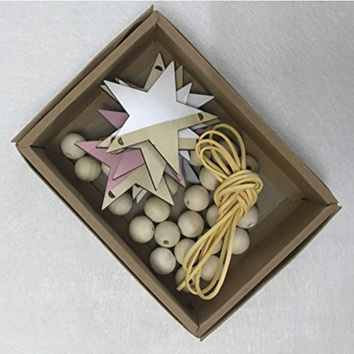 Star Wooden Bead String Pendant DIY Wall Hanging Ornament Kids Room Tent Bed Wall Hanging Ornaments Home Decor