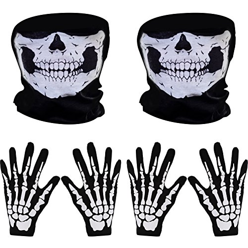 Pangda 2 Set White Skeleton Gloves and Skull Face Mask Ghost Bones for Adult Halloween Dance Party Costume]()