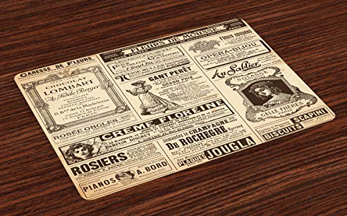 Ambesonne Paris Place Mats Set of 4, Vintage Old Historic Newspaper Journal French Paper Lettering Art Design, Washable Fabric Placemats for Dining Room Kitchen Table Decor, Army Green and Beige
