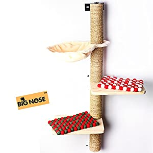 BIG NOSE- Wall Mounted Cat Scratching Post Multi Level Cat Shelves with Solid Wood Steps and Sunny Seat Hammock … 6