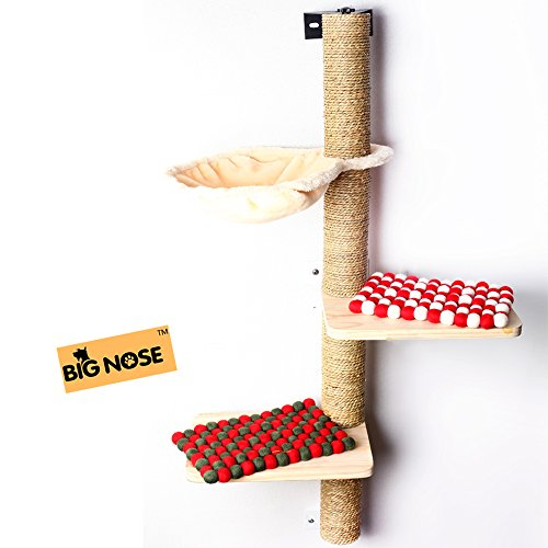 (BIG NOSE- Wall Mounted Cat Scratching Post Multi Level Cat Shelves with Solid Wood Steps and Sunny Seat Hammock )