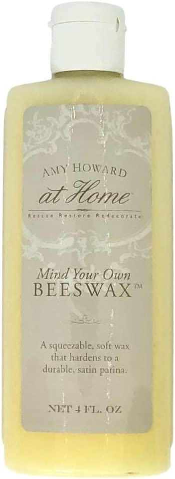 Amy Howard At Home | Mind Your Beeswax | Wood and Metal Protective Finish, Seal & Conditioner | Satin Sheen Antique Furniture Finish | Carnauba and Beeswax Combination | Soft Wax | 4 Oz