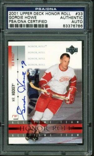 Gordie Howe Signed Picture - Card 2001 Ud Honor Roll Slabbed - PSA/DNA Certified - NHL Autographed Hockey Cards