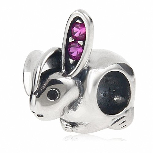 Solid 925 Sterling Silver Bunny Animal Charm for European Style Bracelet (A) (Sterling Silver Rabbit Charm)
