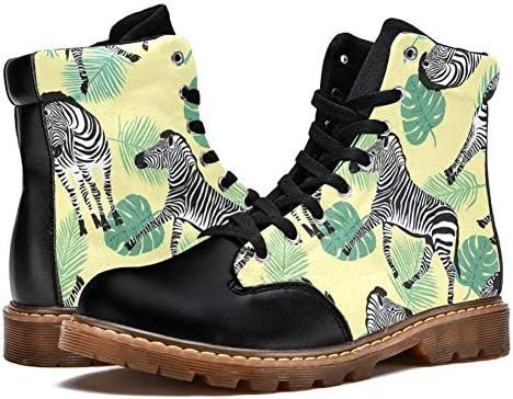 TIZORAX Zebra Tropical Leave Prints High Top Schnürschuhe Klassische Canvas Winterstiefel Schule Schuhe für Herren Teen Jungen  CO2vT