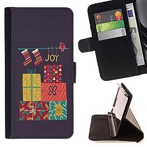 For HTC One M9 Case , Carismas Decoración gris invierno- la tarjeta de Crédito Slots PU Funda de cuero Monedero caso cubierta de piel