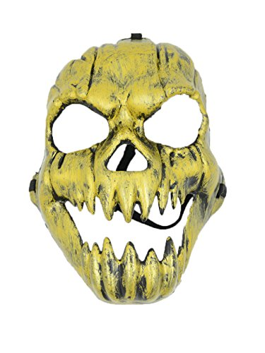Zando Halloween Costume Funny Fancy Cosplay Stage Play Party Club Creepy Mask Style 2 Ghost Mask Gold