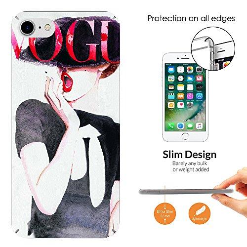 """000782 - Fashion Newspaper Cover Vogue Design iphone 7 4.7"""" Fashion Trend Leichtgewicht Hülle Ultra Slim 0.3MM Kunststoff Kanten und Rückseite Protection Hülle - Clear"""