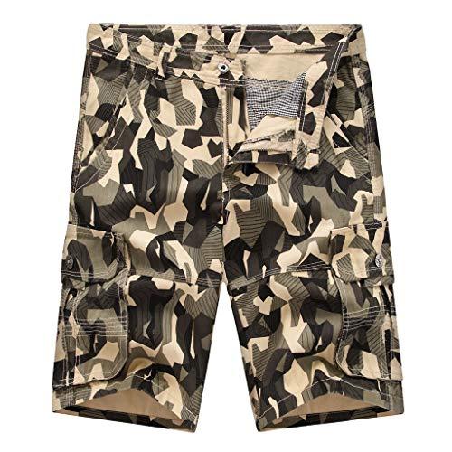 Men's Summer Slim Camouflage Workwear Shorts,Fxbar Multi Pocket Loose PlusSize Short Pants(Beige,36)