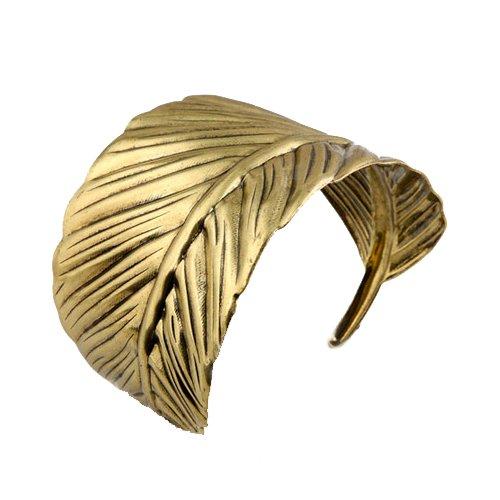 Merdia Fashionable Alloy Arched Leaf Shaped Wide Arm Cuff Bangle Bracelet(Bronze) Bronze Cuff Bracelet