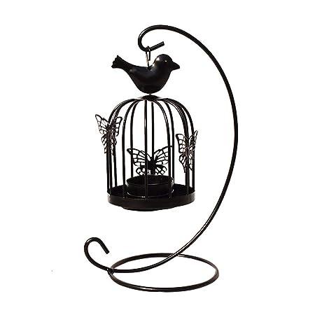 Mackur1Pcs - Jaula Hueca para pájaros, Color Negro, portavelas ...