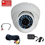 VideoSecu 480TVL CCD Security Camera Outdoor Night Vision 3.6mm Wide Angle Lens 20 Infrared LEDs with Power Supply and Power Extension Cable M6Z