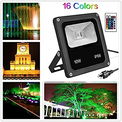 Lanlan Flood Light Outdoor LED Flood Lights IP66 85-265V 10W RGB Color Changing Waterproof Security Wall Projection Lamp US Plug