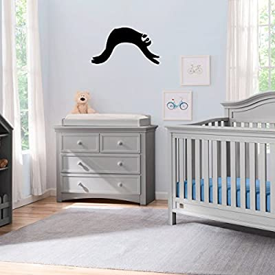 (2X) Nursery Series Sloth Lazy Sticker For Cribs, Walls, Dressers, And More! (Black) - Stickany