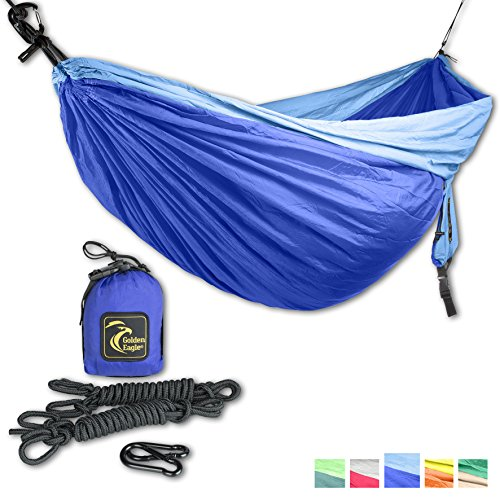 GOLDEN EAGLE Double Eagle Camping Hammock Set - Incl. 2 carabiners and 2 ropes - 118 x 78 in - 600 lbs load - Top Rated Best Quality Lightweight Parachute Nylon 210T. X-MAS GIFT. 2 YEARS-WARRANTY.