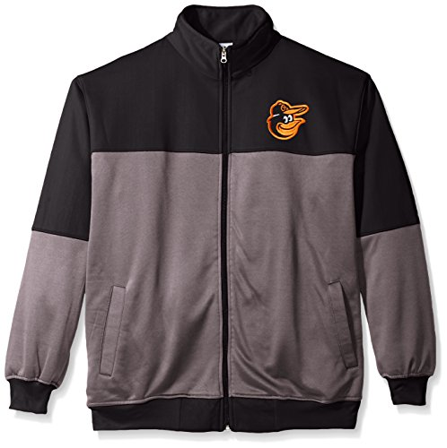 Jackets Baltimore Orioles Mens (MLB Baltimore Orioles Men's Poly Fleece Yoked Track Jacket with Wordmark Logo, X-Large/Tall, Black/Gray)