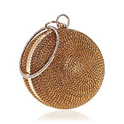 Ball Shape Clutch Purse With Golden Rhinestone & Ring Handle