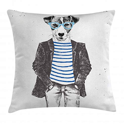 """Ambesonne Quirky Throw Pillow Cushion Cover, Hipster Jack Russell Dog with Glasses Hand Drawn Sketchy Fashion Animal Fun, Decorative Square Accent Pillow Case, 24"""" X 24"""", White Black"""