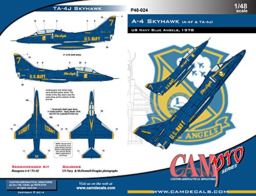 CAM Pro Decals CAMP48024 1:48 A-4F TA-4J Skyhawk Blue Angels 1978 [WATERSLIDE DECAL SHEET]