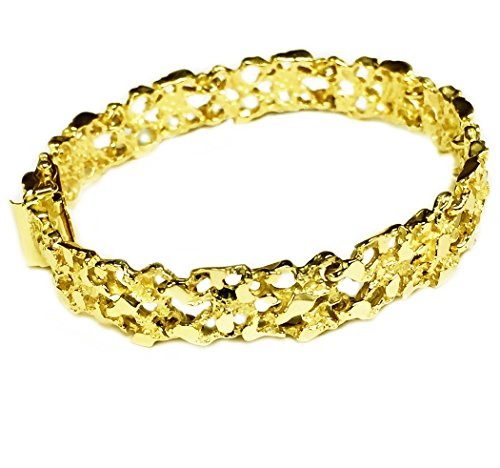 10kt Solid Yellow Gold Handmade Fashion Nugget Bracelet 11 mm 27 grams 8 inches