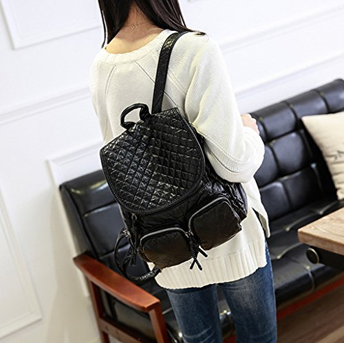 Damen Frauen Mädchen Rucksack 2017 neue Schultertasche weibliche koreanische Version der Welle PU Tasche einfache wilde Studenten Tasche Freizeit Mode Damen Rucksack (Schultergurte: verstellbar) (27 *