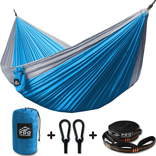 ProVenture Double Camping Hammock & FREE 9ft straps - Lightweight & Compact - For Backpacking, The Beach, Back Yard, Travel, Or Any Adventure! (Light Blue/ Grey, (Double Back Strap)