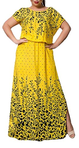 Chiffon Dress Womens Fit Yellow Print Maxi Elegant Long Plus Jaycargogo Washed Size UqtaxxS