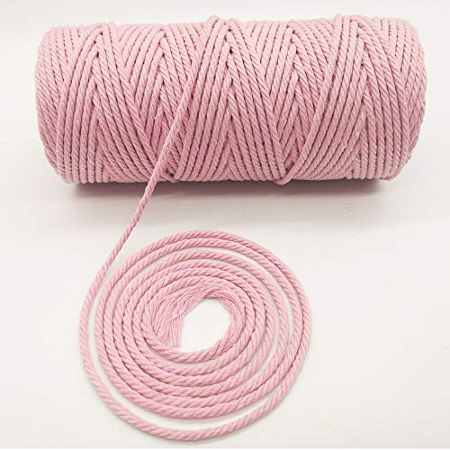 Black Red Green Pink Colorful Natural Cotton Macrame Wall Hanging Plant Hanger Craft Making Knitting Cord Rope 3mm Diameter (3mm Baby Pink 328 ft) ()