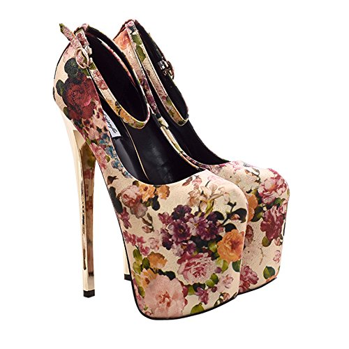 Fereshte Mujeres Fashion Cerrada Plataforma Del Dedo Del Pie Super High Heel Pump Zapatos De Boda No.1048 19cm-golden