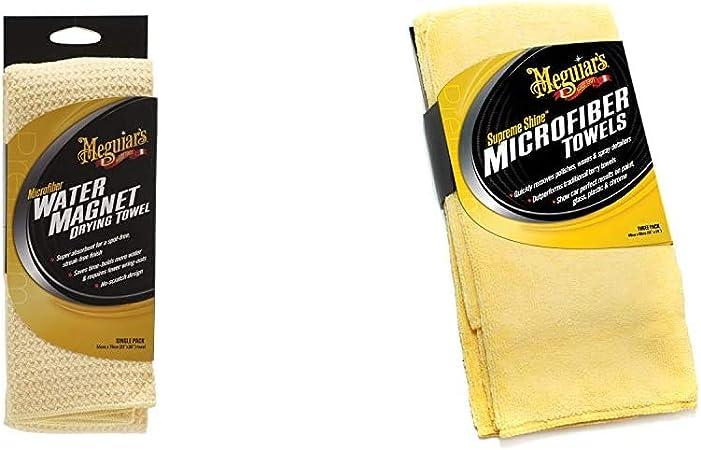 Meguiars X2000eu Water Magnet Microfiber Drying Towel Trockentuch Wassermagnet X2020eu Supreme Shine Mikrofasertuch 3er Pack Auto