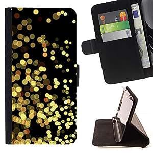 For HTC One Mini 2 M8 MINI Case , Luces amarillas Oro Espumoso Negro- la tarjeta de Crédito Slots PU Funda de cuero Monedero caso cubierta de piel