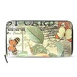 Peony Flower Pasport Zip Wallet PU Leather Long Clutch Purse HandBag For Women