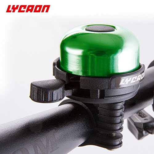 LYCAON Bell 8 Colors Mini Aluminum Alloy Bike Ring Loud Crisp Clear Sound Horn Bike Accessories for Scooter, Cruiser Ebike, Tricycle, Mountain Road Bike, MTB BMX Electric Bike, Green