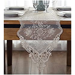 "WSHINE Lace Table Runner and Dresser Scarf Embroidered Flower Tablecloth Party Home Decor Supplies (Champion, 10.2"" 59.1"")"