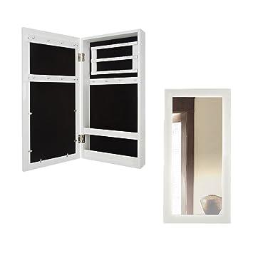 Schmuckkasten Mit Spiegel Holz Weiß 60 X 30 X 9 Cm | 3 Leisten Für Ohrringe