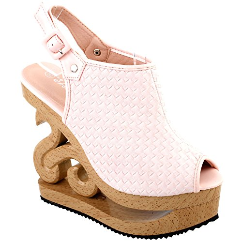 (SHOW STORY Baby Pink Woven Effect Buckle Slingback Open Toe Stud Wooden Wedges Platform Clogs Sandals,LF30838BP38,7US,Baby Pink)