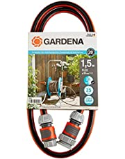 """GARDENA Comfort FLEX aansluitslang 13 mm (1/2"""") 1,5 m: Slangadapter voor het aansluiten van slangenwagen, hoogwaardige slang met snelkoppelingen en kraanstuk, 25 bar barstdruk (18040-20)"""