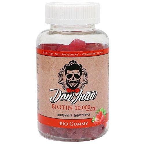 Don Juan 10000 mcg Biotin Gummies for Healthy Hair, Skin & Nails, 100 Count