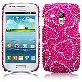 Funda Carcasa Diamantes Brillantes para Samsung Galaxy S3 Mini i8190 Corazones con fondo Rosa