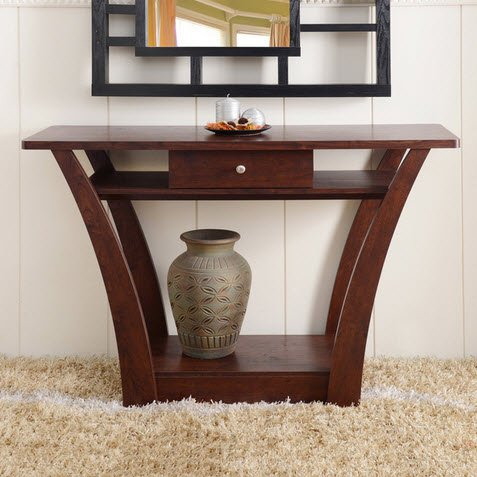 Dark Walnut Accent (Magnolia Modern 1-Drawer Dark Walnut Wood Narrow Sofa Console Table with Storage)