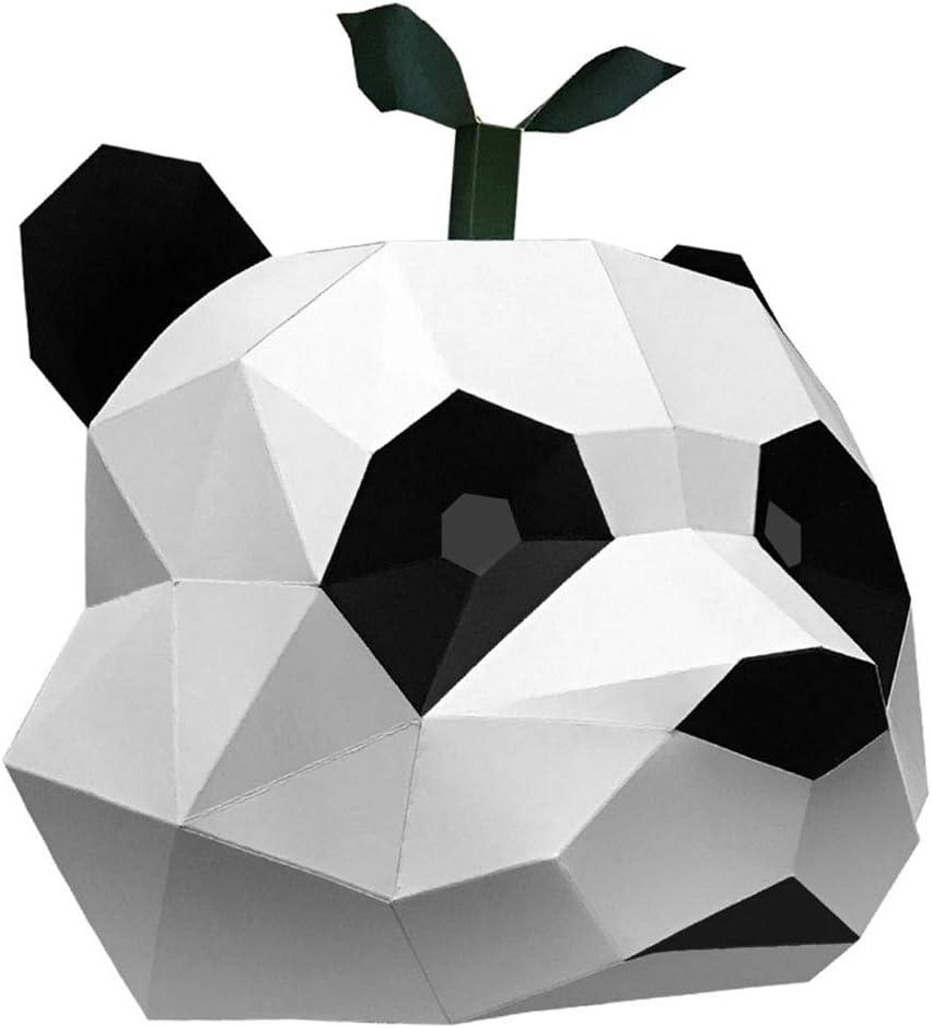 LOVIVER 3D Panda Head Mask Animal Puzzle Disfraz de Mascota de Halloween Papercraft DIY Kits - NO se Necesitan Tijeras