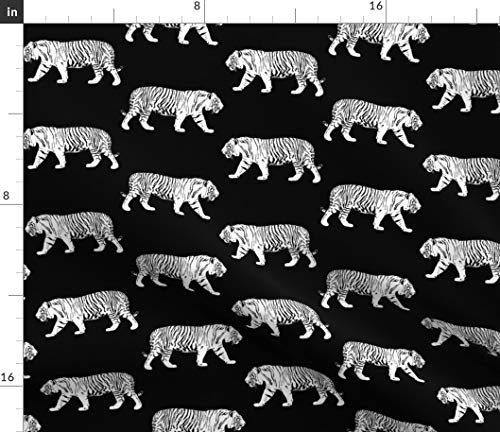 (Spoonflower Tiger Fabric - White Walking Black and Swite Stripe Monochrome Neutral Zoo Wildcat Animal Print on Fabric by The Yard - Chiffon for Sewing Fashion Apparel Dresses Home Decor)