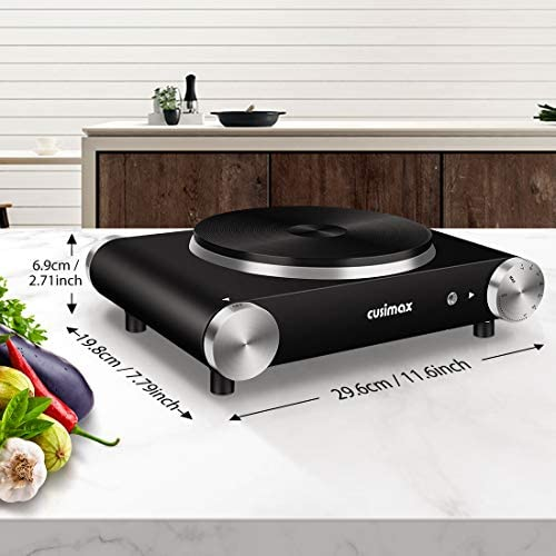 CUSIMAX Electric Hot Plate for Cooking Portable Single Burner 1500W Cast Iron sizzling plates Heat-up in Seconds Adjustable Temperature Control Stainless Steel Non-Slip Rubber Feet Upgraded Version B101