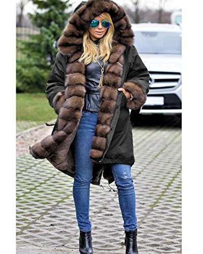 d51a425f440 high-quality Roiii Women Luxury Winter Long Warm Thick Parka Cafe Faux Fur  Jacket Hood